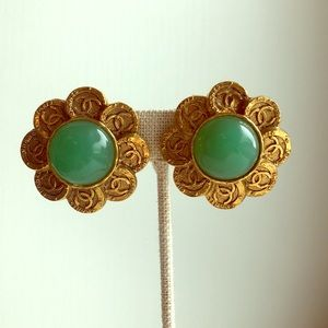 Chanel Jade and Gold Logo Earrings